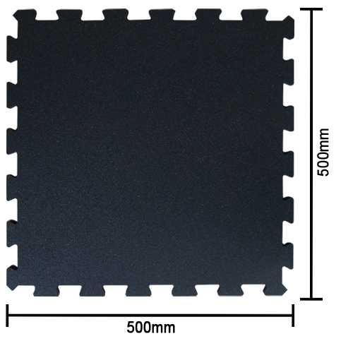 Inter-Locking Rubber Tiles (500mm x 500mm x 10mm; 100% Black)